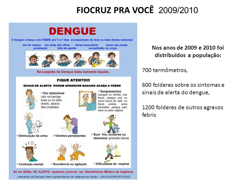 FIOCRUZ PRA VOCÊ 2009/2010 Nos anos de 2009 e 2010 foi distribuídos a população: 700 termômetros, 600 folderes sobre os sintomas e sinais de alerta do
