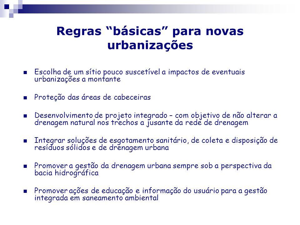 Regras básicas para novas urbanizações Escolha de um sítio pouco suscetível a impactos de eventuais urbanizações a montante Proteção das áreas de cabe