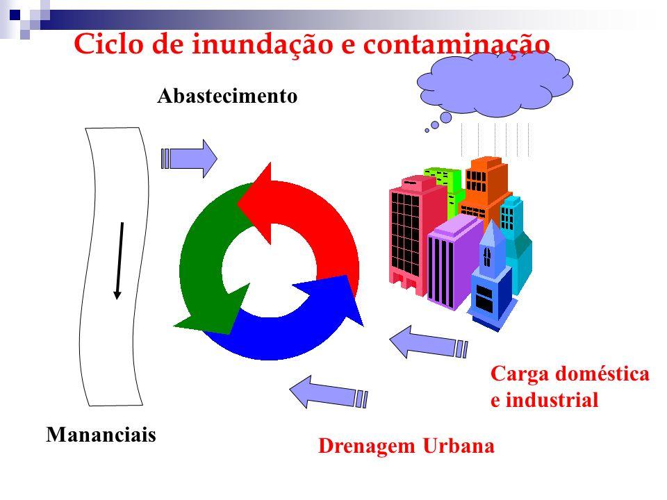Abastecimento Carga doméstica e industrial Drenagem Urbana Mananciais Ciclo de inundação e contaminação