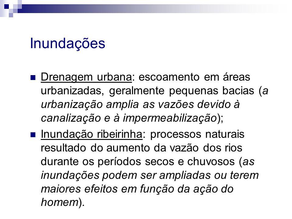 Inundações Drenagem urbana: escoamento em áreas urbanizadas, geralmente pequenas bacias (a urbanização amplia as vazões devido à canalização e à imper
