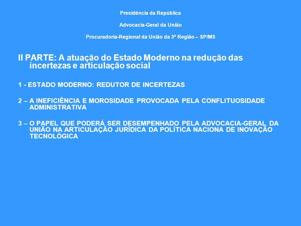 Presidência da República Advocacia-Geral da União Procuradoria-Regional da União da 3ª Região – SP/MS II PARTE: A atuação do Estado Moderno na redução