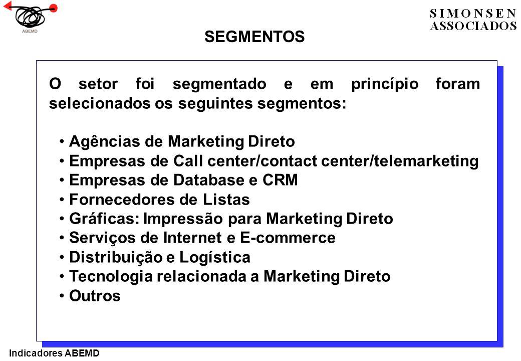 O setor foi segmentado e em princípio foram selecionados os seguintes segmentos: Agências de Marketing Direto Empresas de Call center/contact center/t
