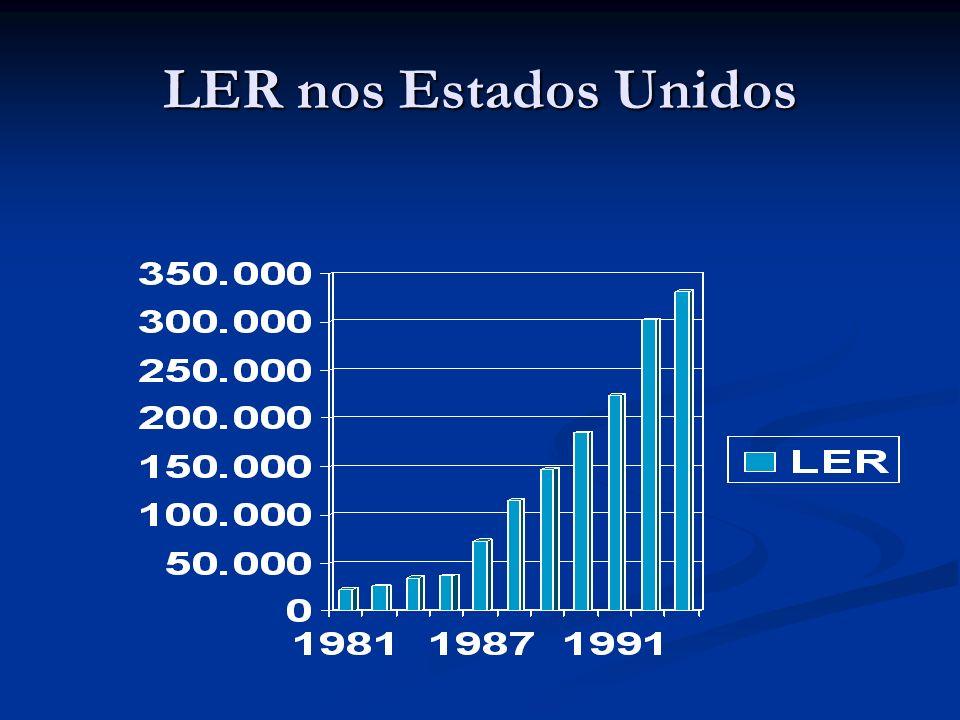 Doenças dos que trabalham Dados DATAPREV Doenças ocupacionais no Brasil 1992: 8.299 1997: 36.648 2002: 20.886 50% LER Subnotificação de doenças ocupac
