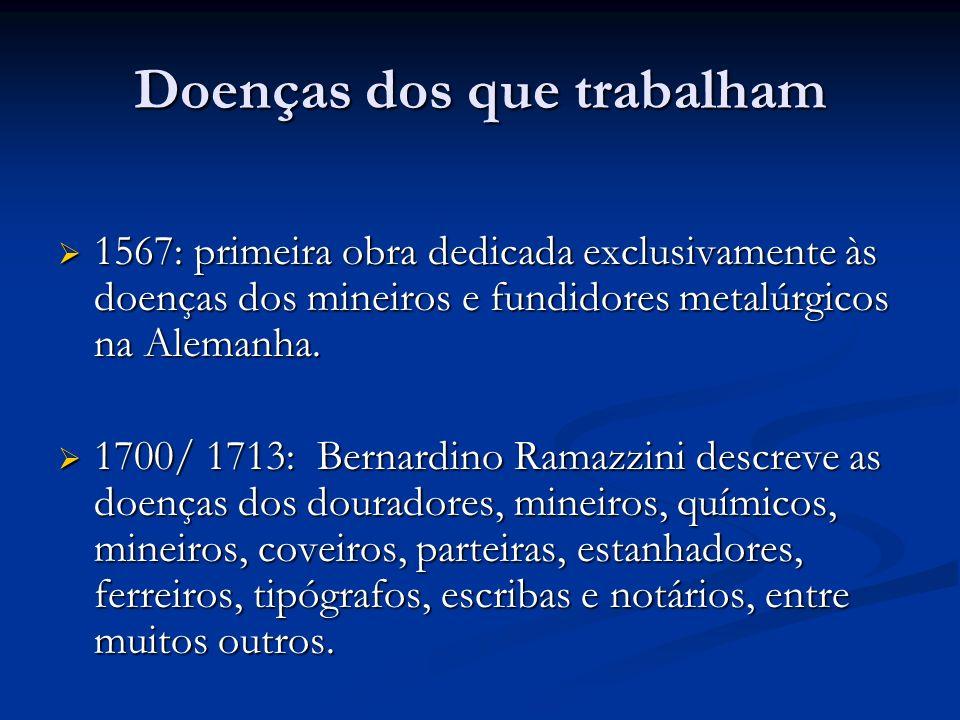 Doenças dos que trabalham Dados DATAPREV Doenças ocupacionais no Brasil 1992: 8.299 1997: 36.648 2002: 20.886 50% LER Subnotificação de doenças ocupacionais