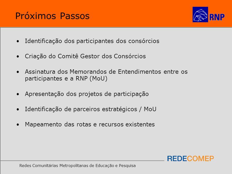 Redes Comunitárias Metropolitanas de Educação e Pesquisa Próximos Passos Identificação dos participantes dos consórcios Criação do Comitê Gestor dos C