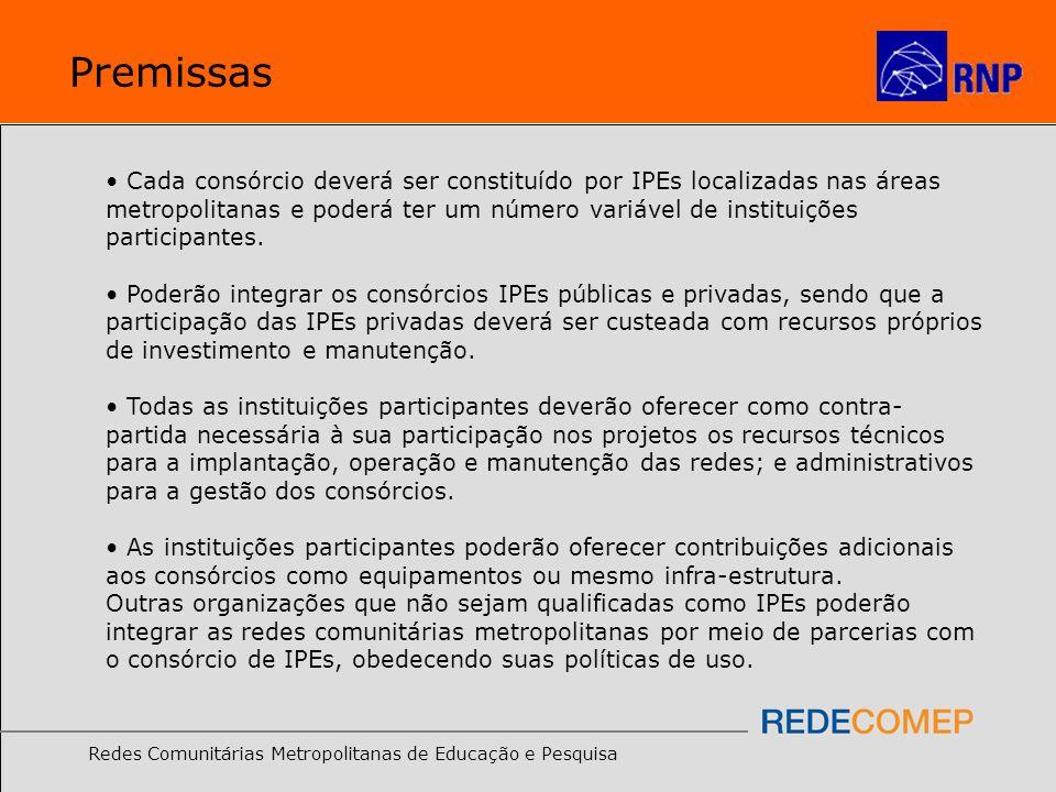 Redes Comunitárias Metropolitanas de Educação e Pesquisa Premissas Cada consórcio deverá ser constituído por IPEs localizadas nas áreas metropolitanas