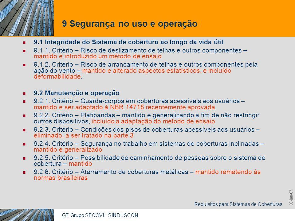 GT Grupo SECOVI - SINDUSCON Requisitos para Sistemas de Coberturas 9,825,461,087,64 10,91 6,00 0,00 8,00 30-jan-07 9 Segurança no uso e operação 9.1 I