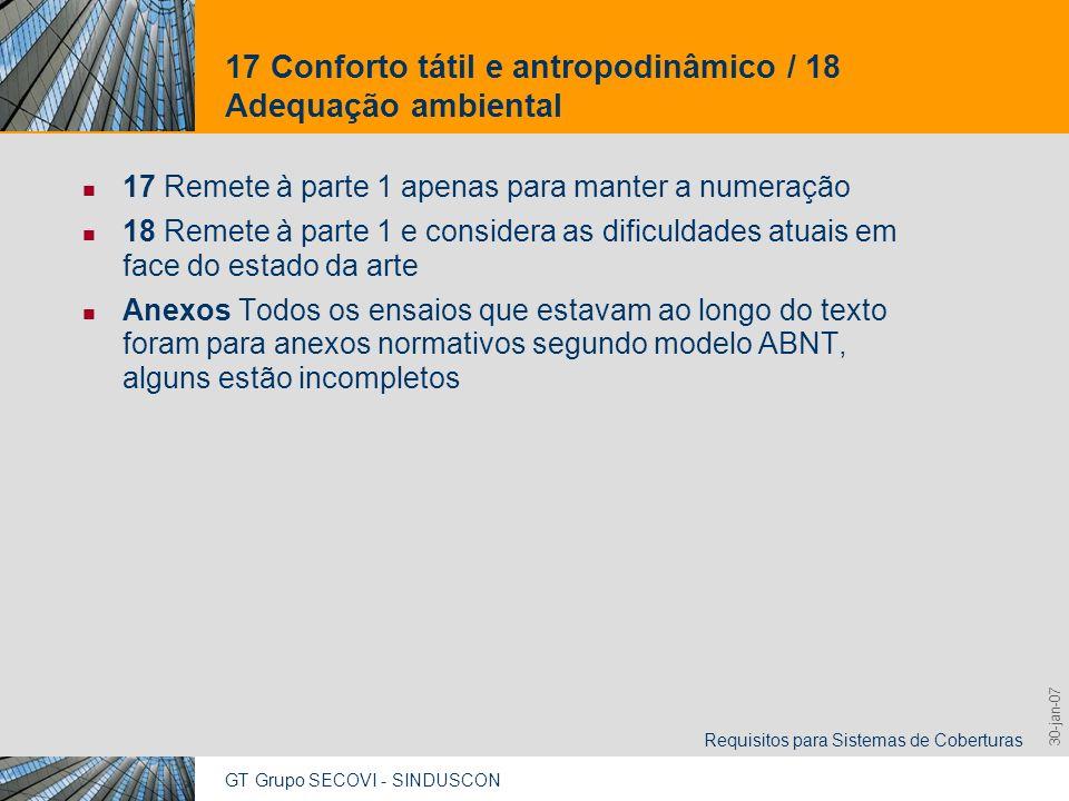 GT Grupo SECOVI - SINDUSCON Requisitos para Sistemas de Coberturas 9,825,461,087,64 10,91 6,00 0,00 8,00 30-jan-07 17 Conforto tátil e antropodinâmico