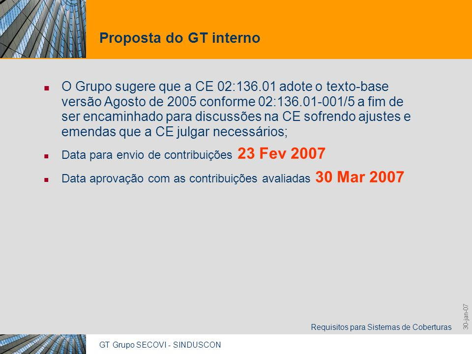 GT Grupo SECOVI - SINDUSCON Requisitos para Sistemas de Coberturas 9,825,461,087,64 10,91 6,00 0,00 8,00 30-jan-07 Proposta do GT interno O Grupo suge