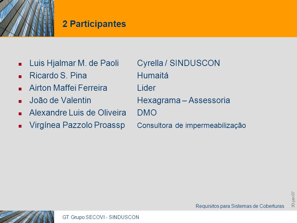 GT Grupo SECOVI - SINDUSCON Requisitos para Sistemas de Coberturas 9,825,461,087,64 10,91 6,00 0,00 8,00 30-jan-07 2 Participantes Luis Hjalmar M. de