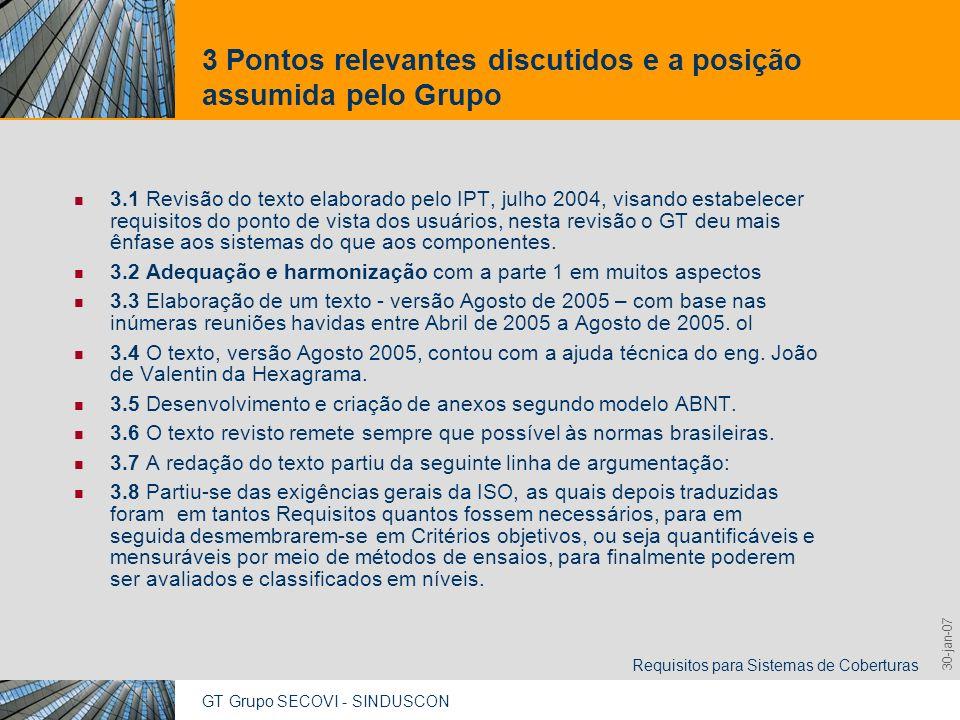 GT Grupo SECOVI - SINDUSCON Requisitos para Sistemas de Coberturas 9,825,461,087,64 10,91 6,00 0,00 8,00 30-jan-07 3 Pontos relevantes discutidos e a posição assumida pelo Grupo 3.9 Aquelas OBSERVAÇÕES - contidas no texto Julho de 2004 – foram re-fraseadas de forma a constar em premissas de projeto.
