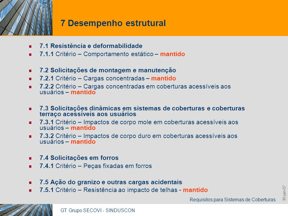 GT Grupo SECOVI - SINDUSCON Requisitos para Sistemas de Coberturas 9,825,461,087,64 10,91 6,00 0,00 8,00 30-jan-07 16 Funcionalidade e acessibilidade 16.1 Manutenção dos equipamentos e dispositivos, ou componentes constituintes do sistema de coberturas 16.1.1 Critério – Instalação, manutenção e des-instalação de equipamentos e dispositivos da cobertura – inclui premissas de projeto e normas brasileiras