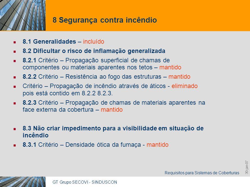 GT Grupo SECOVI - SINDUSCON Requisitos para Sistemas de Coberturas 9,825,461,087,64 10,91 6,00 0,00 8,00 30-jan-07 8 Segurança contra incêndio 8.1 Gen