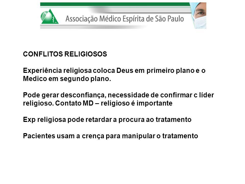 CONFLITOS RELIGIOSOS Experiência religiosa coloca Deus em primeiro plano e o Medico em segundo plano. Pode gerar desconfiança, necessidade de confirma
