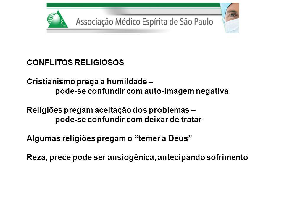 CONFLITOS RELIGIOSOS Cristianismo prega a humildade – pode-se confundir com auto-imagem negativa Religiões pregam aceitação dos problemas – pode-se co