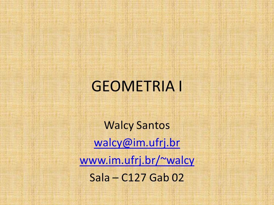 GEOMETRIA I Walcy Santos walcy@im.ufrj.br www.im.ufrj.br/~walcy Sala – C127 Gab 02