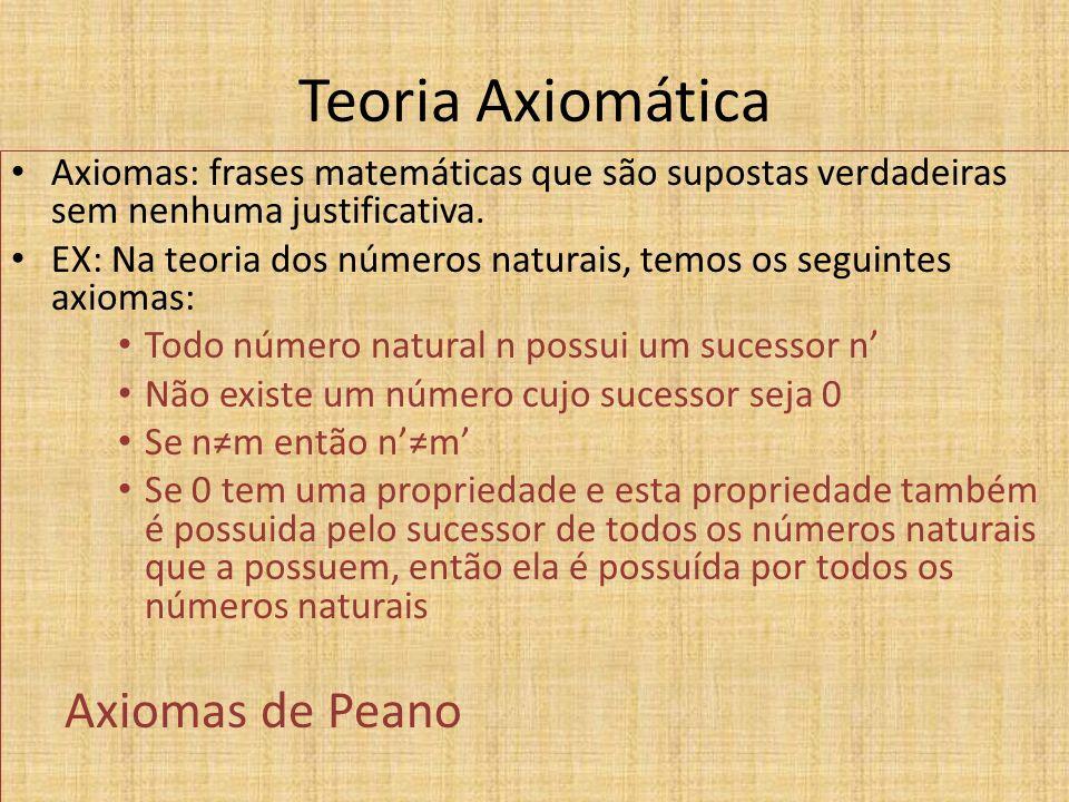 Teoria Axiomática Axiomas: frases matemáticas que são supostas verdadeiras sem nenhuma justificativa. EX: Na teoria dos números naturais, temos os seg