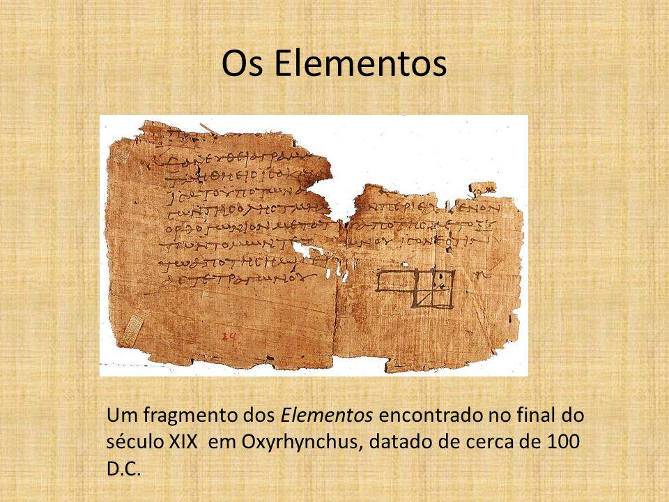 Os Elementos Um fragmento dos Elementos encontrado no final do século XIX em Oxyrhynchus, datado de cerca de 100 D.C.