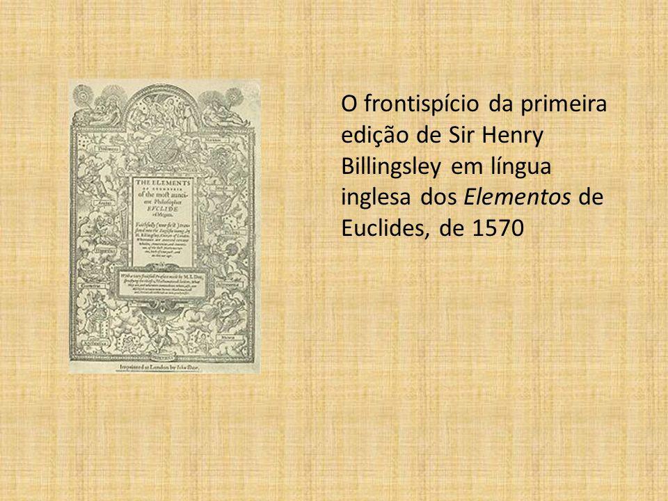 O frontispício da primeira edição de Sir Henry Billingsley em língua inglesa dos Elementos de Euclides, de 1570