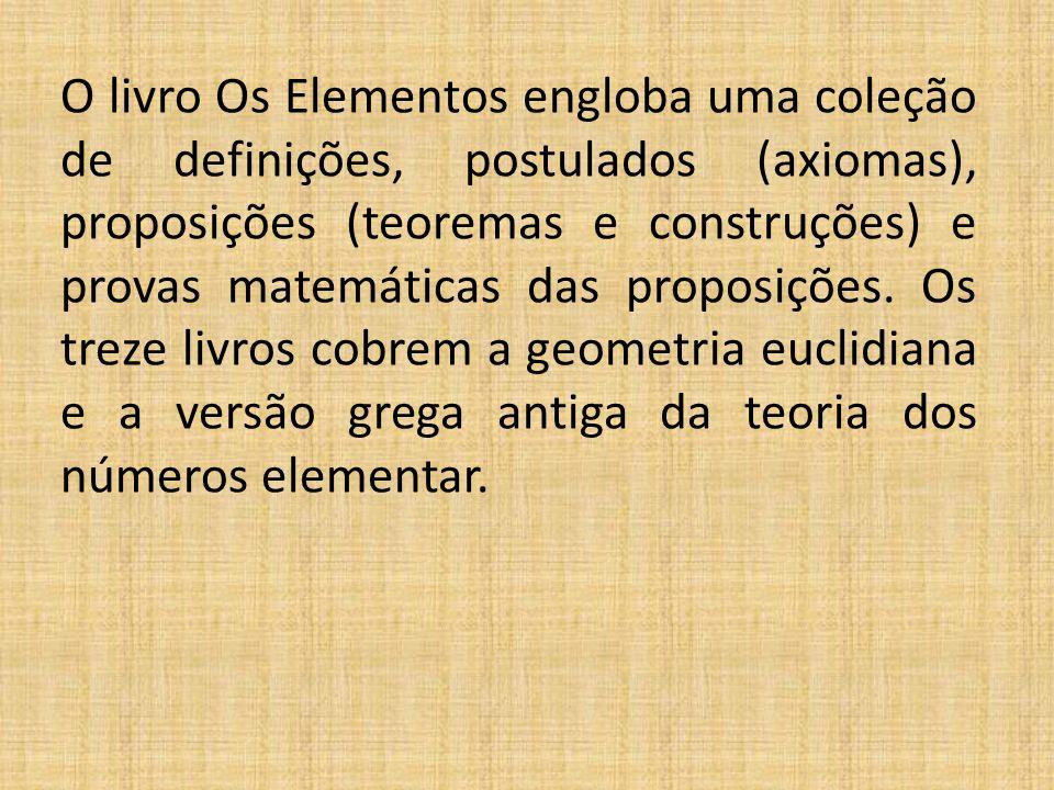 O livro Os Elementos engloba uma coleção de definições, postulados (axiomas), proposições (teoremas e construções) e provas matemáticas das proposiçõe