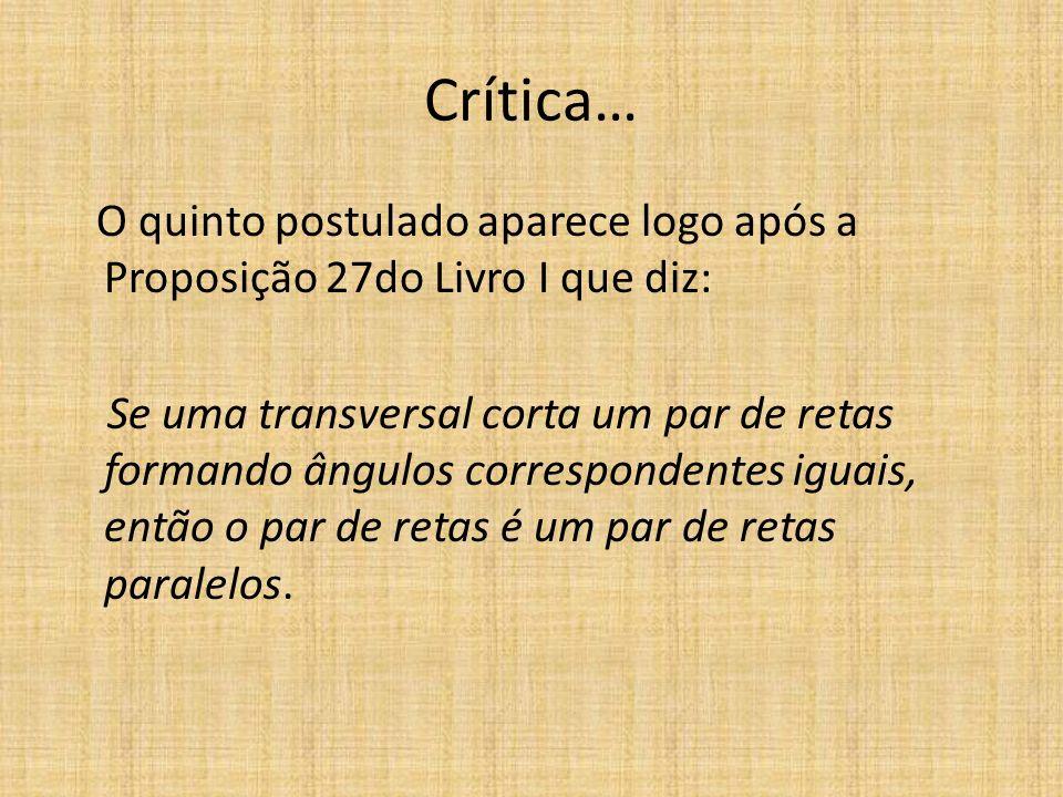 Crítica… O quinto postulado aparece logo após a Proposição 27do Livro I que diz: Se uma transversal corta um par de retas formando ângulos corresponde