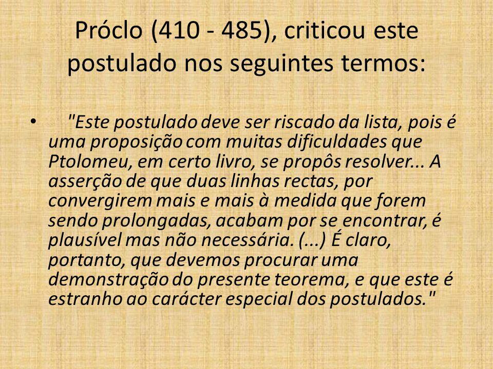 Próclo (410 - 485), criticou este postulado nos seguintes termos: