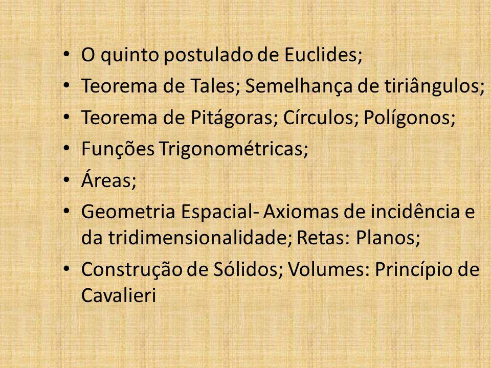 O quinto postulado de Euclides; Teorema de Tales; Semelhança de tiriângulos; Teorema de Pitágoras; Círculos; Polígonos; Funções Trigonométricas; Áreas