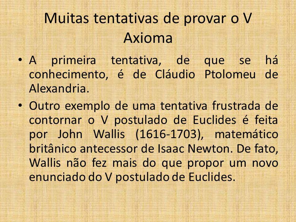 Muitas tentativas de provar o V Axioma A primeira tentativa, de que se há conhecimento, é de Cláudio Ptolomeu de Alexandria. Outro exemplo de uma tent