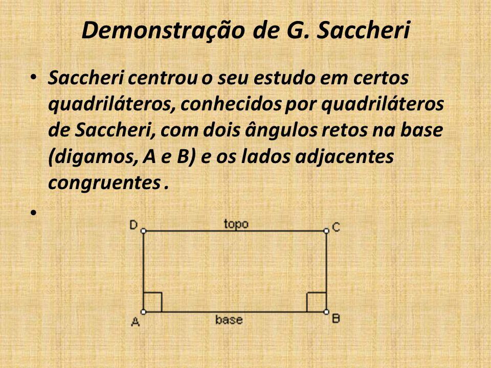 Demonstração de G. Saccheri Saccheri centrou o seu estudo em certos quadriláteros, conhecidos por quadriláteros de Saccheri, com dois ângulos retos na
