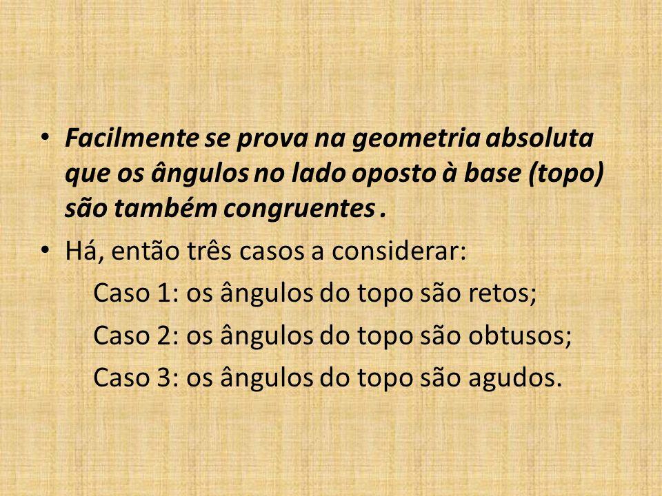 Facilmente se prova na geometria absoluta que os ângulos no lado oposto à base (topo) são também congruentes. Há, então três casos a considerar: Caso