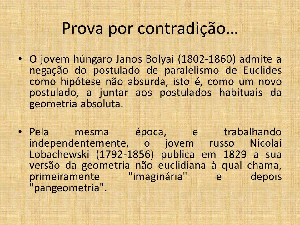 Prova por contradição… O jovem húngaro Janos Bolyai (1802-1860) admite a negação do postulado de paralelismo de Euclides como hipótese não absurda, is