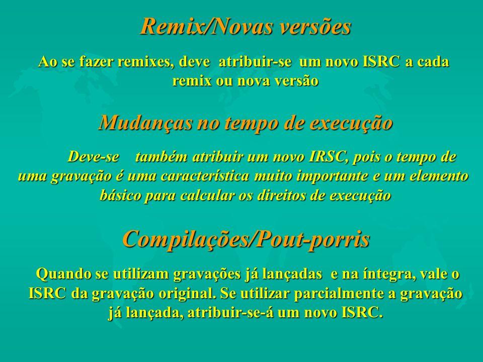 Remix/Novas versões Ao se fazer remixes, deve atribuir-se um novo ISRC a cada remix ou nova versão Mudanças no tempo de execução Deve-se também atribu