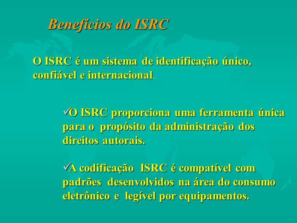 Benefícios do ISRC O ISRC é um sistema de identificação único, confiável e internacional O ISRC é um sistema de identificação único, confiável e inter