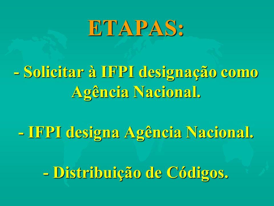 ETAPAS: - Solicitar à IFPI designação como Agência Nacional. - IFPI designa Agência Nacional. - Distribuição de Códigos.