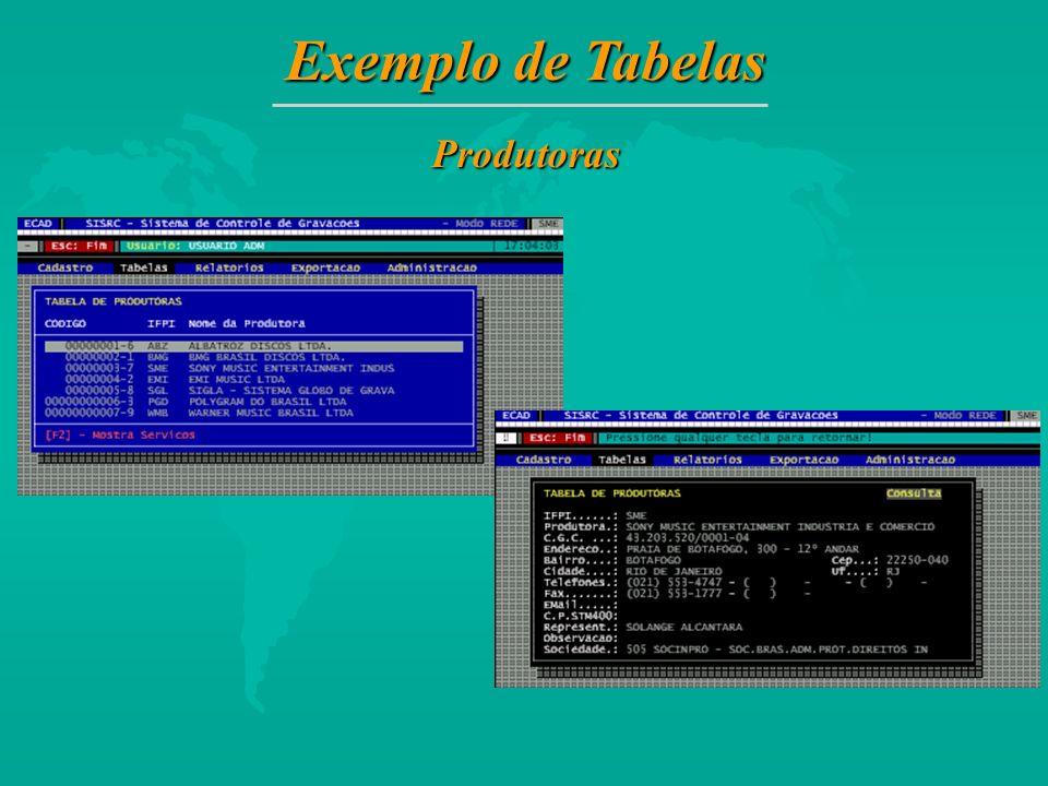 Exemplo de Tabelas Produtoras