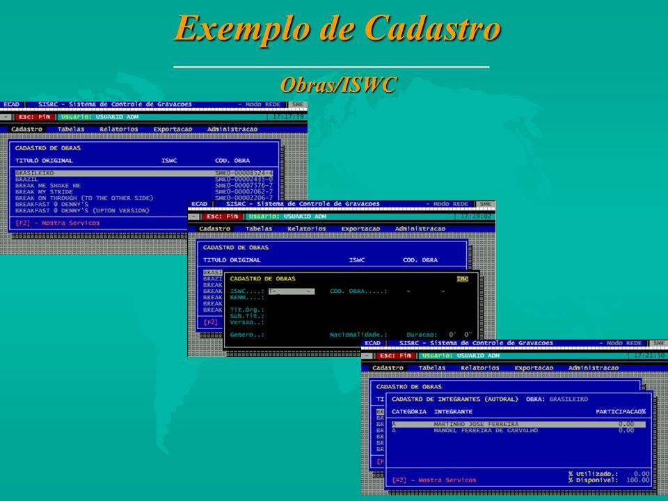 Exemplo de Cadastro Obras/ISWC