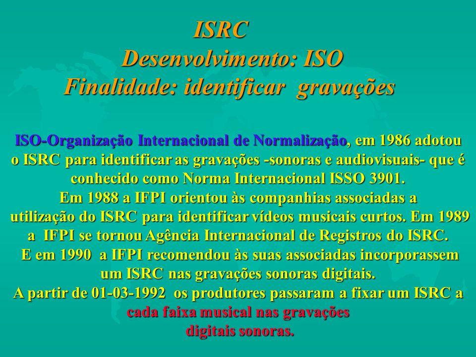 ISO-Organização Internacional de Normalização, em 1986 adotou o ISRC para identificar as gravações -sonoras e audiovisuais- que é conhecido como Norma