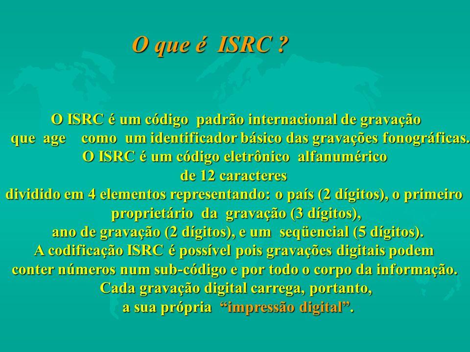 O ISRC é um código padrão internacional de gravação que age como um identificador básico das gravações fonográficas. que age como um identificador bás