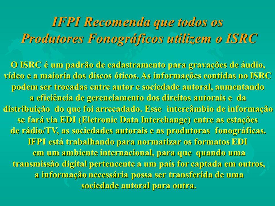 IFPI Recomenda que todos os Produtores Fonográficos utilizem o ISRC O ISRC é um padrão de cadastramento para gravações de áudio, vídeo e a maioria dos