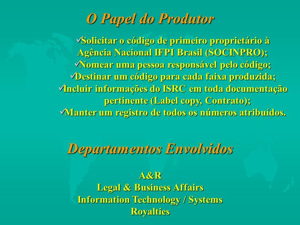 O Papel do Produtor Solicitar o código de primeiro proprietário à Agência Nacional IFPI Brasil (SOCINPRO); Solicitar o código de primeiro proprietário