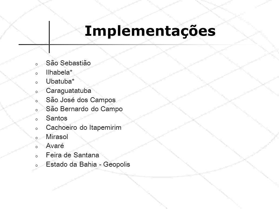 Implementações o São Sebastião o Ilhabela* o Ubatuba* o Caraguatatuba o São José dos Campos o São Bernardo do Campo o Santos o Cachoeiro do Itapemirim