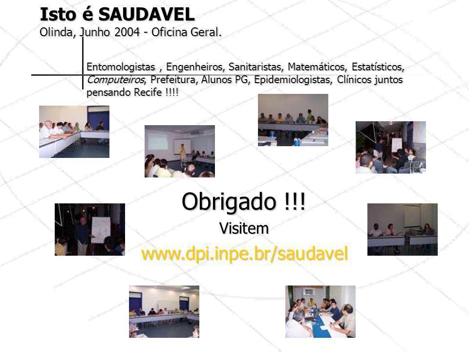 Obrigado !!! Visitemwww.dpi.inpe.br/saudavel Isto é SAUDAVEL Olinda, Junho 2004 - Oficina Geral. Entomologistas, Engenheiros, Sanitaristas, Matemático