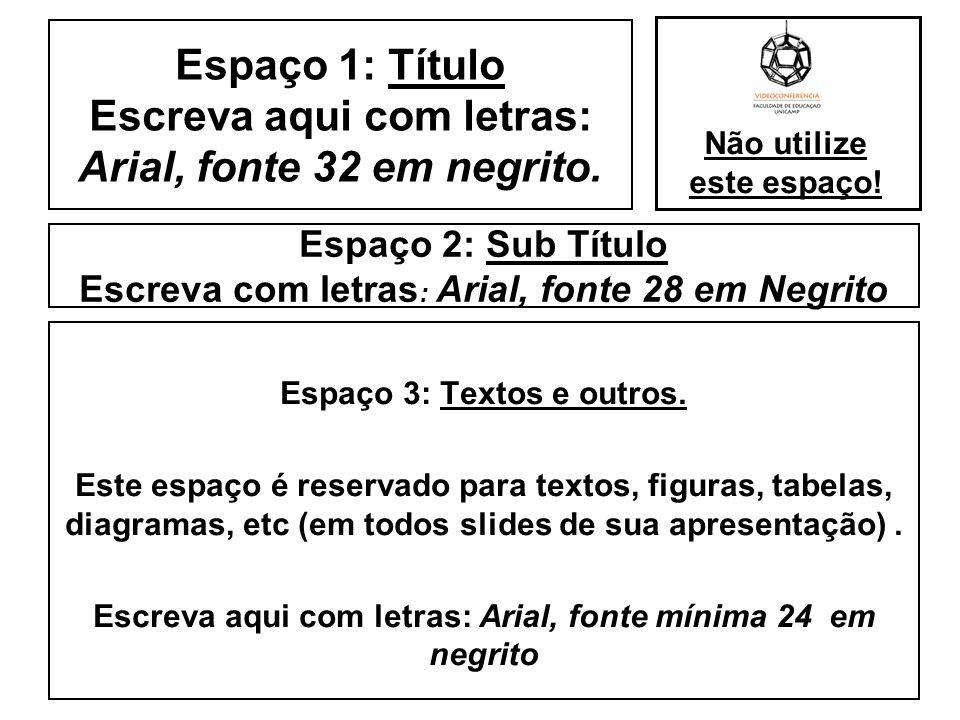 Espaço 2: Sub Título Escreva com letras : Arial, fonte 28 em Negrito Espaço 3: Textos e outros. Este espaço é reservado para textos, figuras, tabelas,