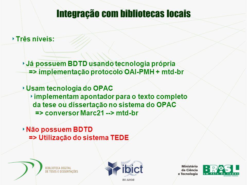 Integração com bibliotecas locais Três níveis: Já possuem BDTD usando tecnologia própria => implementação protocolo OAI-PMH + mtd-br Usam tecnologia d