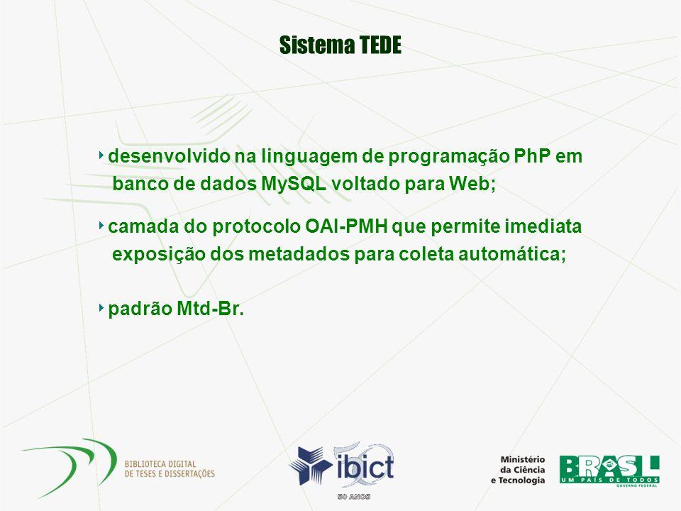 Sistema TEDE desenvolvido na linguagem de programação PhP em banco de dados MySQL voltado para Web; camada do protocolo OAI-PMH que permite imediata e