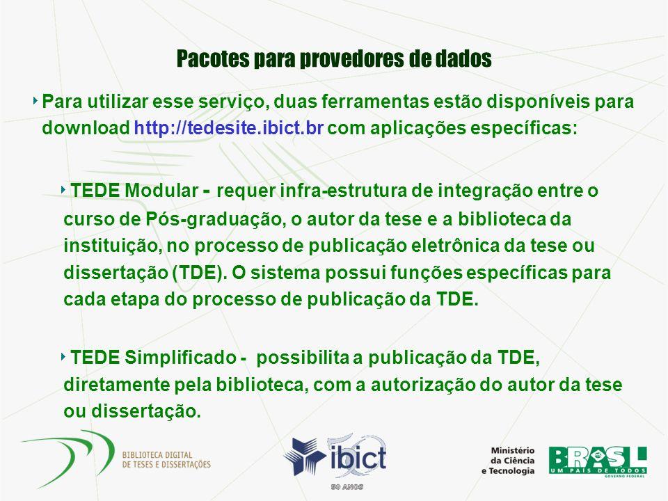 Pacotes para provedores de dados Para utilizar esse serviço, duas ferramentas estão disponíveis para download http://tedesite.ibict.br com aplicações