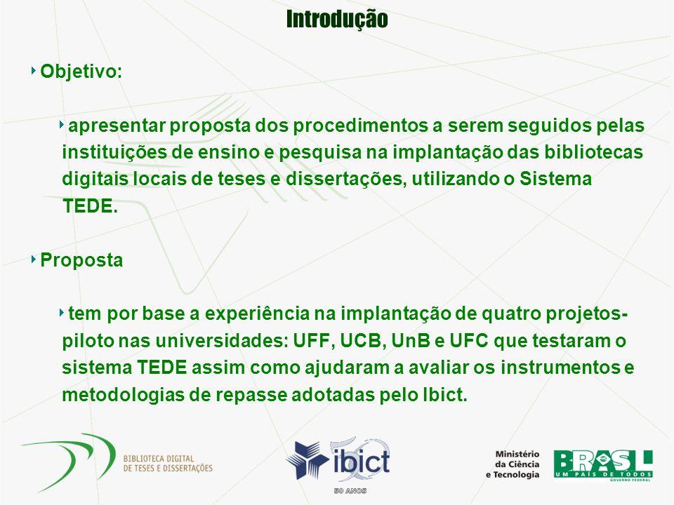 Introdução Objetivo: apresentar proposta dos procedimentos a serem seguidos pelas instituições de ensino e pesquisa na implantação das bibliotecas dig