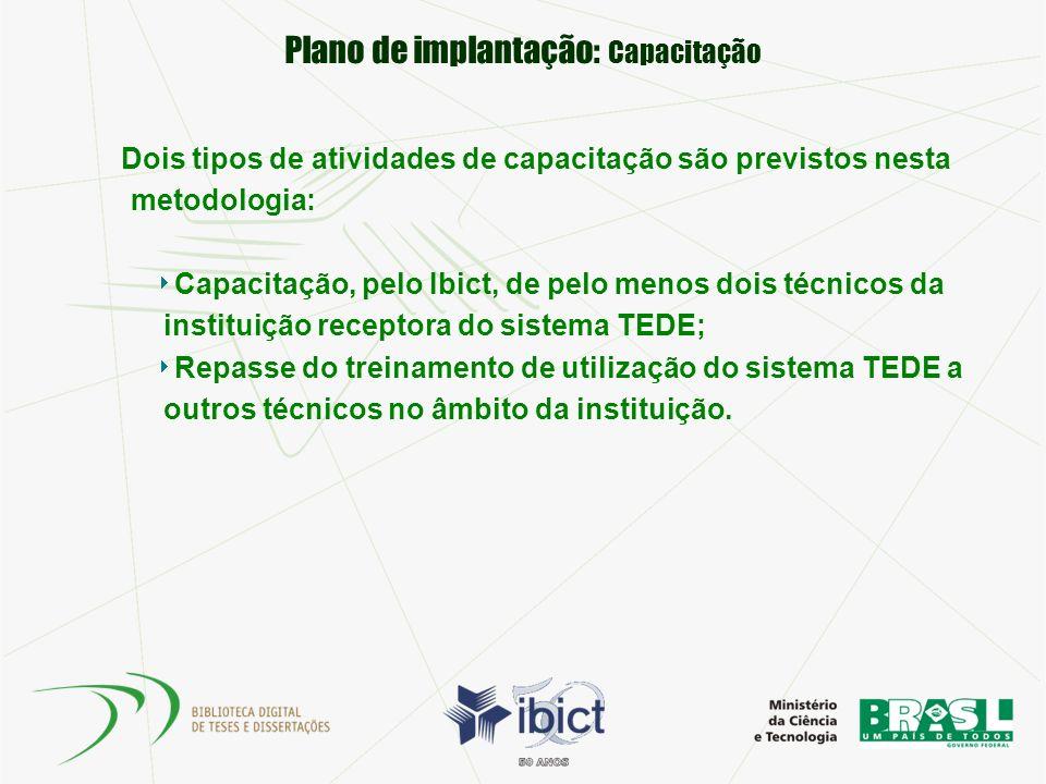 Plano de implantação: Capacitação Dois tipos de atividades de capacitação são previstos nesta metodologia: Capacitação, pelo Ibict, de pelo menos dois