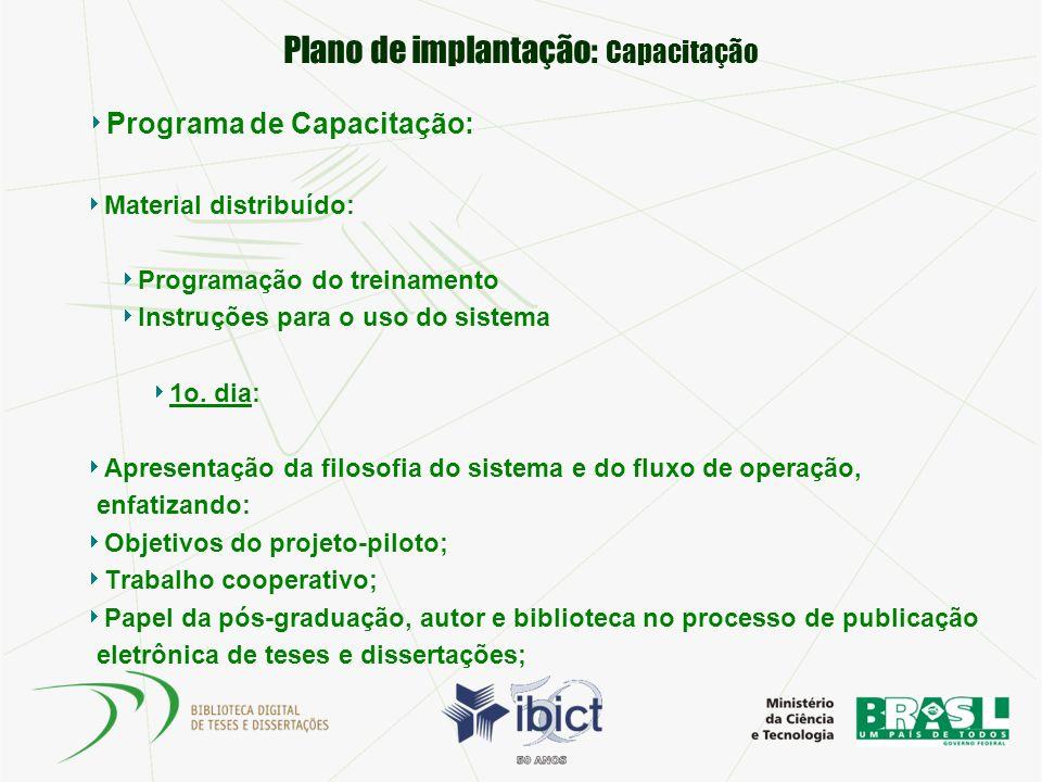 Plano de implantação: Capacitação Programa de Capacitação: Material distribuído: Programação do treinamento Instruções para o uso do sistema 1o. dia: