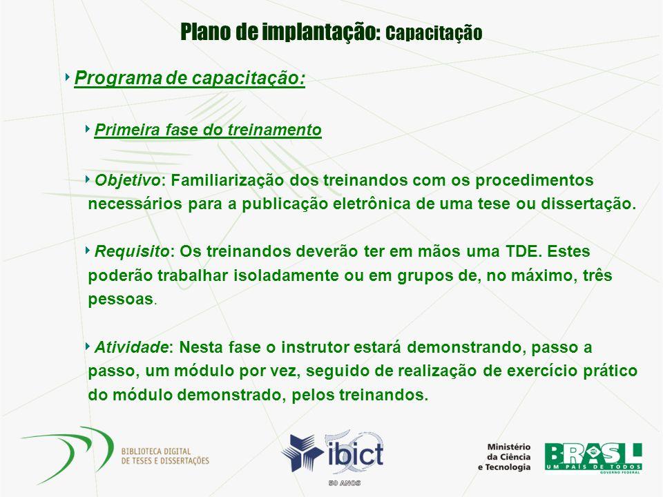 Plano de implantação: Capacitação Programa de capacitação: Primeira fase do treinamento Objetivo: Familiarização dos treinandos com os procedimentos n